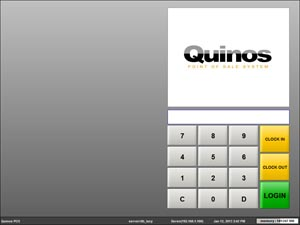 Layar login Software Restoran Quinos POS